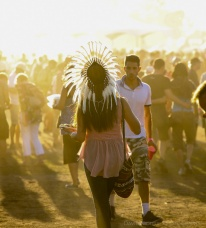 A woman wears a headdress at the Vancouver Folk Music Festival.