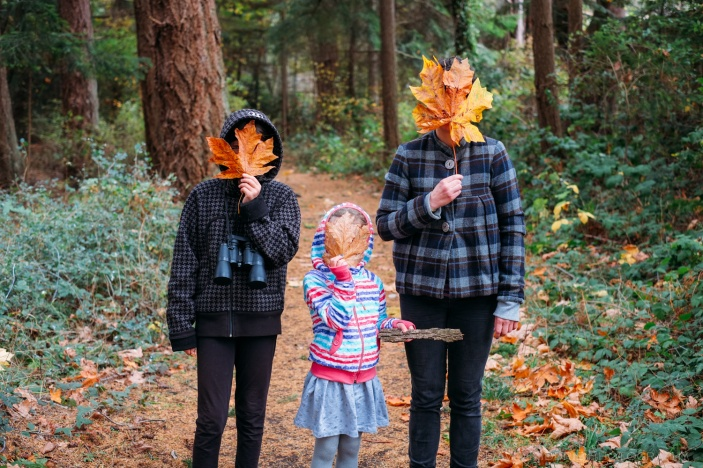 Three girls hold giant tree leaves in front of their faces.
