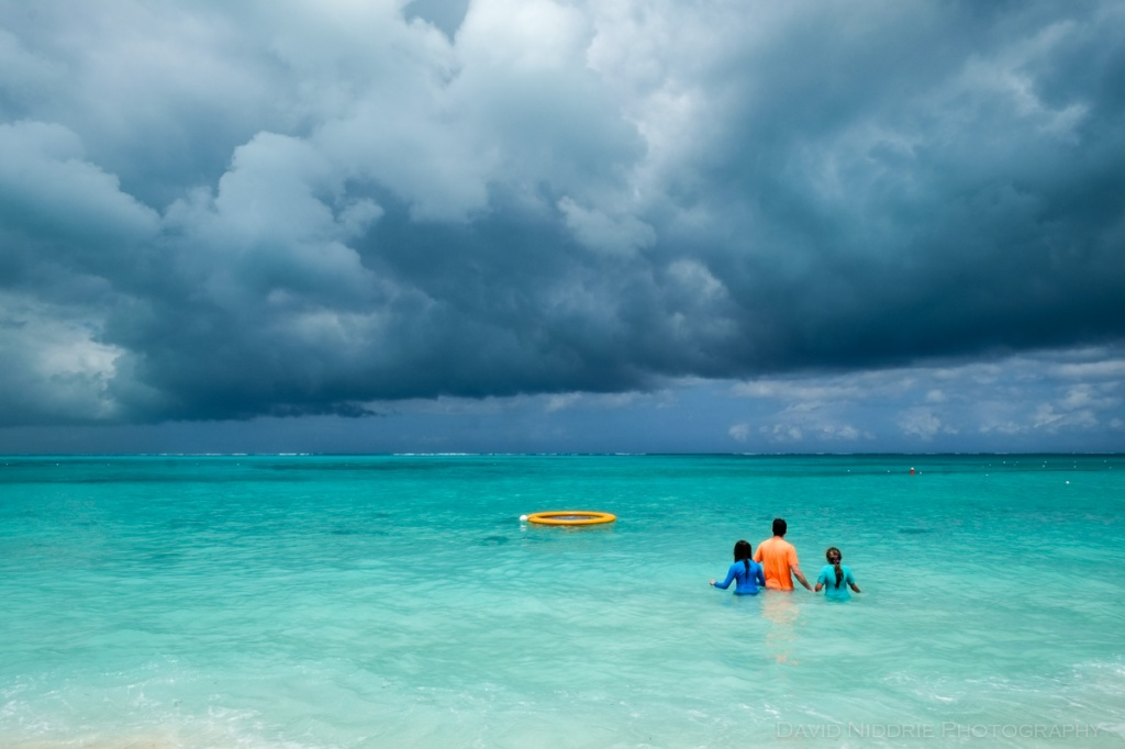 A gathering storm on Grace Bay Beach in Turks and Caicos islands in the Caribbean.