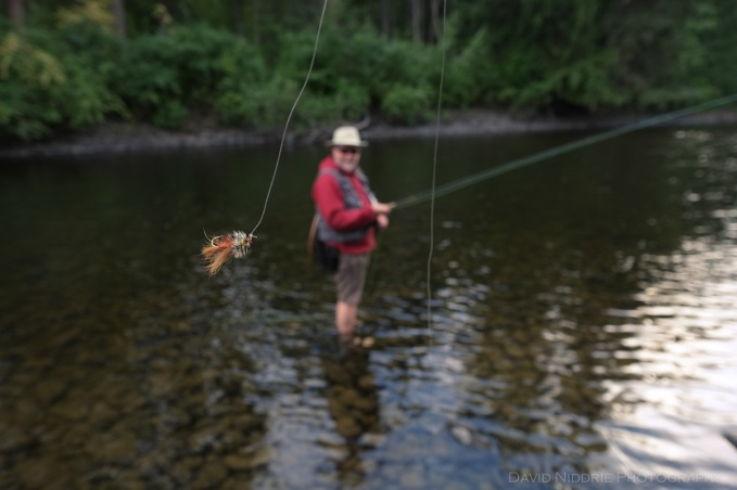 A man fly fishing shows off his lure in the river.