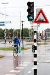 Cycling in the rain in Utrecht,Netherlands.
