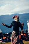 A man dances at Vancouver Folk Music Festival 2016