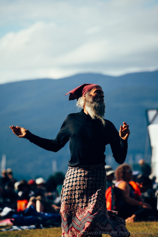A man dances at Vancouver Folk Music Festival 2016
