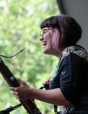 The Bassoon player from Moulettes at Vancouver Folk Music Festival 2016