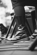 Black boots on stage at Vancouver Folk Music Festival 2016