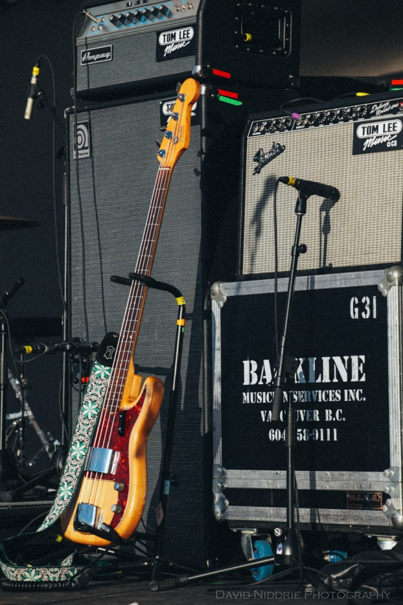 A bass guitar at Vancouver Folk Music Festival 2016