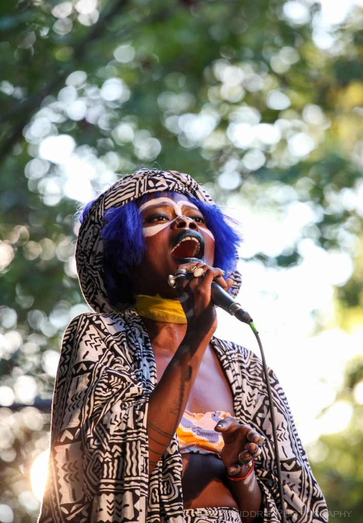 Ghana artist Jojo Abot performs on stage at the Vancouver Folk Music Fesival.