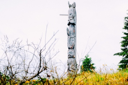A totem pole stands at the Namgis Burial Grounds on Alert Bay