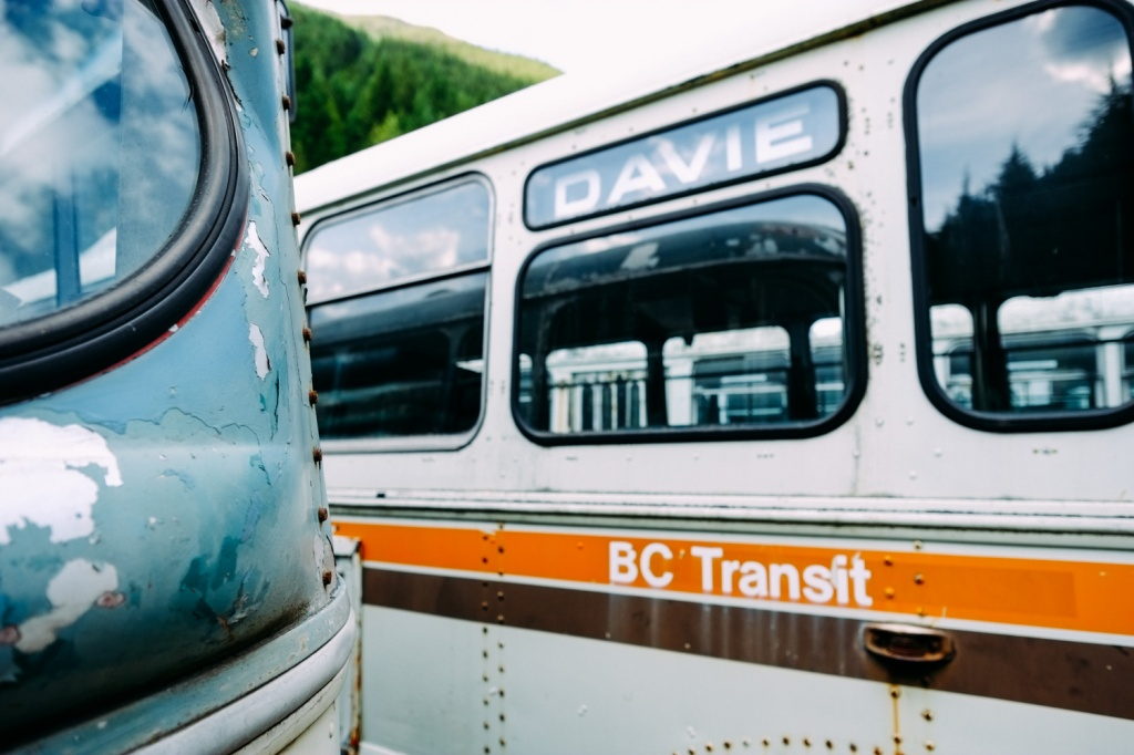 Vintage BC trolley buses on display at Sandon, BC.