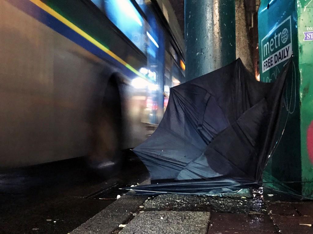 An abandoned umbrella along Hastings Street, Vancouver.